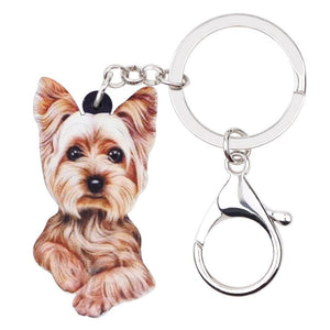 Cute Yorkshire Terrier Dog Key Chains Keyrings