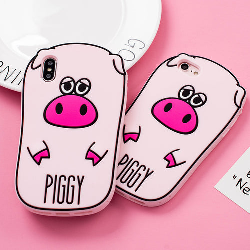 Cute cartoon pink pig protect cover case Phone case