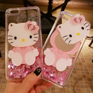 3D hello kitty For iPhone case cute bling love liquid pink shell + hang neck strap for iphone 8 plus