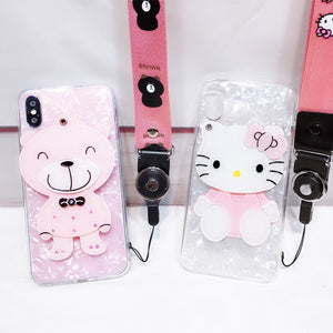 3D hello kitty cute mirror pink shell with hang neck strap phone case