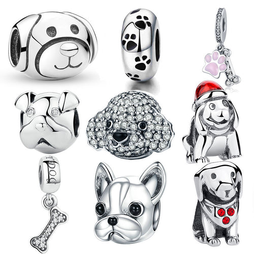 925 Sterling Silver A Dog 's Story, Poodle Cute Puppy French Bulldog Beads Bracelet