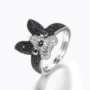 New French Bulldog Ring Fine Jewelry Adjustable Size 925 Sterling Silver Rings