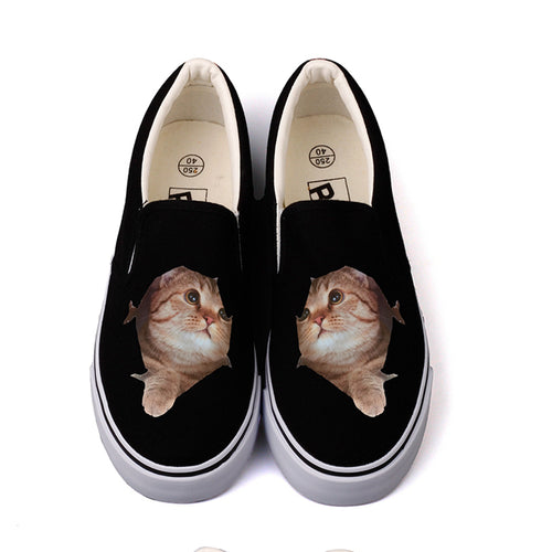 3D Cat Slip ons Shoes for Women