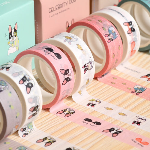 2 pcs/pack French Bulldog Washi Tape Adhesive Sticker Label Masking Tape