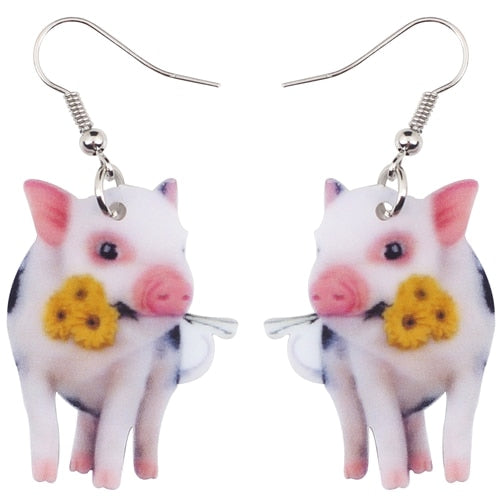 Acrylic Flower Pink Pig Earrings Accessories