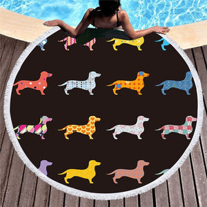 Dachshund sausage beach towel cartoon Picnic Blanket Yoga Mat