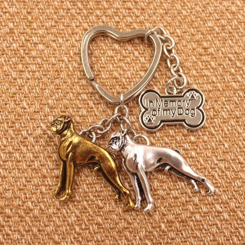 New Cute Boxer Dog Antique Pendant Keychain Jewelry