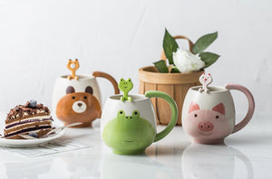 Cute Animal Mugs Coffee Cat Pig Bear Frog Panda Include Spoon