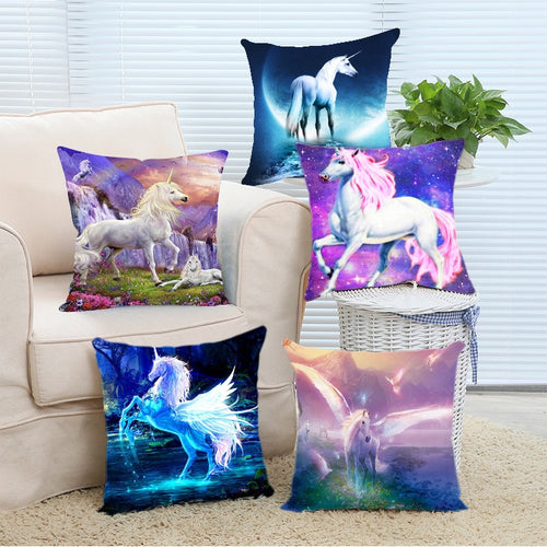 Cartoon Unicorn Animal Cushion Cover Printing Linen Decorative Pillow Case