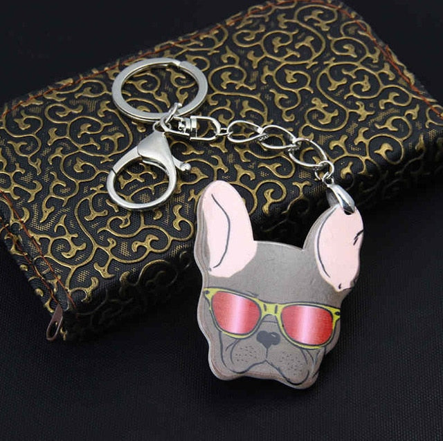 CLEARANCE French Bulldog Lovers Key Chain or Purse Charm 3 Bulldogs 2 Colors
