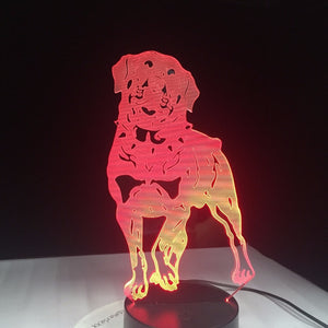 German Rottweiler 3D Dog Lamp Animal Lights Desk USB LED Night