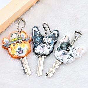 Cute Silicone French Bulldog Dog Key chain