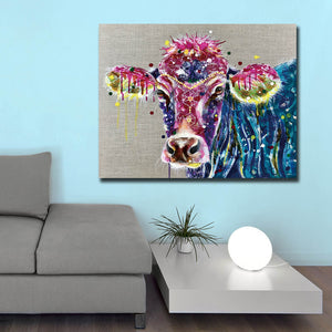 Wall Art Cow Canvas Painting for Living Room Home Decor Oil Painting Picture  Unframed