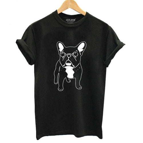 Cotton french bulldog print t-shirt for girls summer