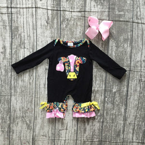 b401a58e0a5b3f New arrival black floral Fall/winter baby girls clothing cotton love cow