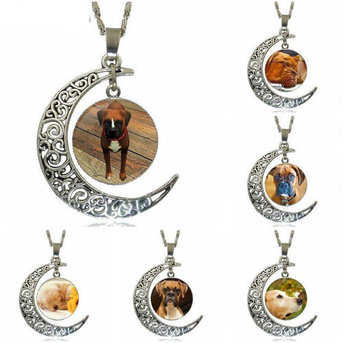 Boxer Dog Cutie Canine Boxer Dog Fashion Pendant Necklace Silver Color