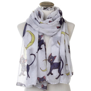 New Fashion Oversized Soft White Cat Moon Long Scarf For Womens