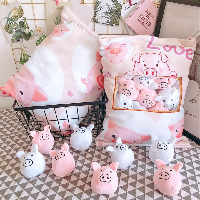 Super cute plush toy cartoon soft love pig one bag piggy stuffed pillow