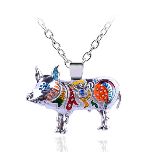 Cute Enamel Pig Necklace Jewelry