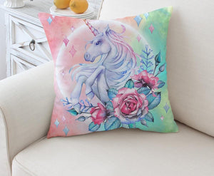 Unicorn and Rose Cushion Cover Cartoon Pillowcase Girly