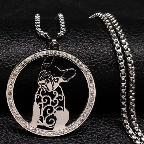 French Bulldog Crystal Stainless Steel Necklace Jewelry