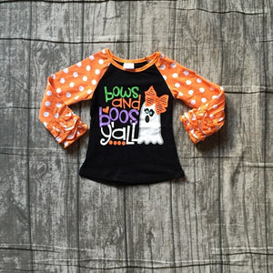 Halloween baby girls bows and boos y'all ghost - children clothes orange black cotton