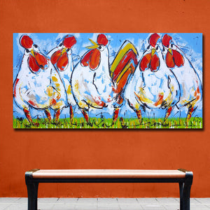 Four Rooster on The Grass Wall Art Canvas Print