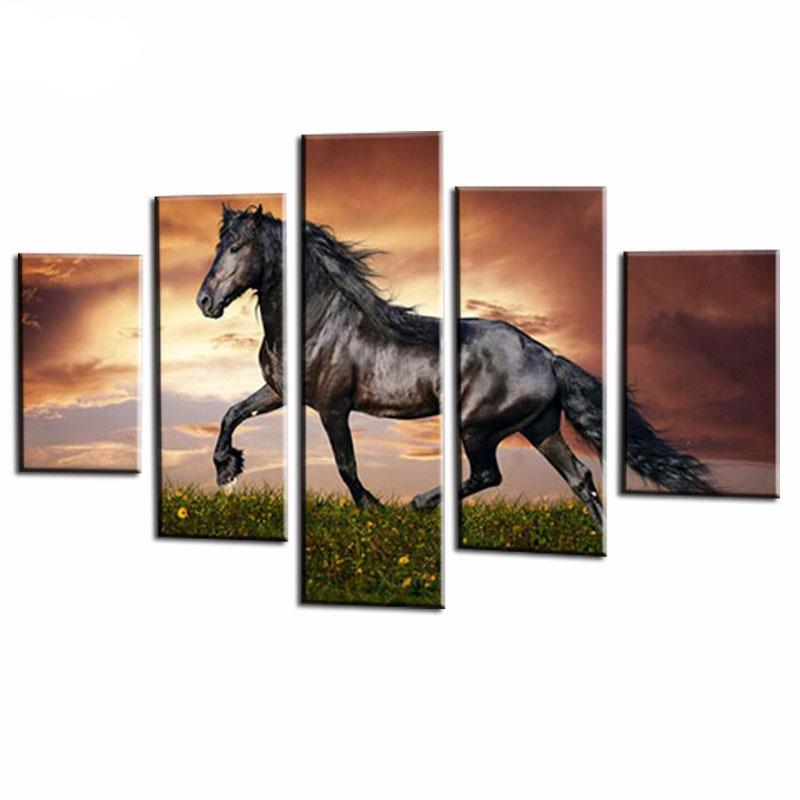 5 Panel Modular Horse Canvas Paintings On The Wall