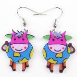 Cow Earrings Acrylic Pattern Long Dangle