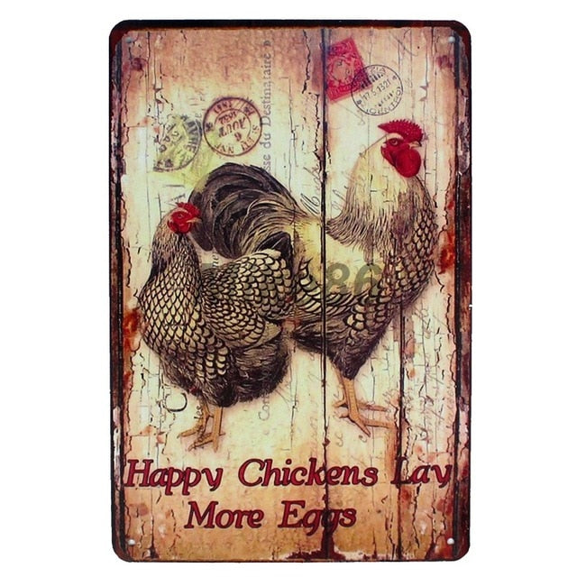 Metal Sign Home Store Farm Decor Retro Wall Poster - Happy Chickens