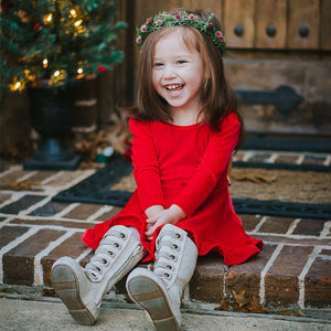 Christmas Red Dress Girl Long Sleeve Princess Dress Queen Clothing Xmas