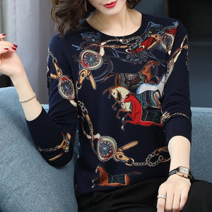 Sweater Autumn Winter Loose Knitted Sweater Color horse print Pullover Women O-Neck