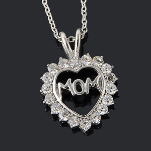 "Love ""Mom"" Fully-Crystal Heart Pendant Necklace Mother's Day Gifts"