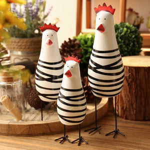3PCS/SET Wooden Chicken Family Figurines