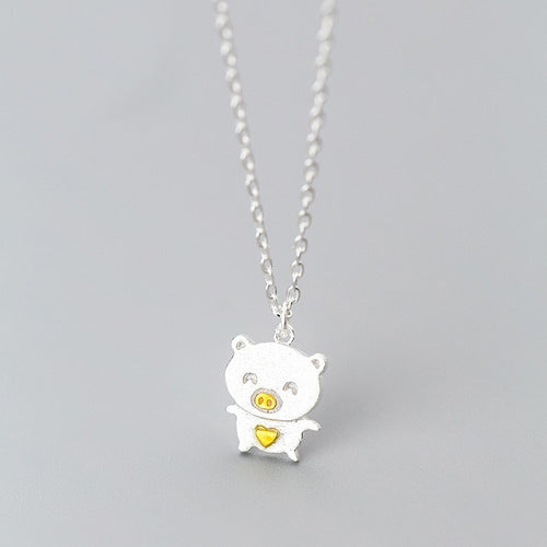 100% 925 Sterling Silver Cute Pig Pendant Necklace