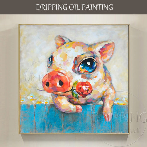Wall Art Oil Painting Artist Hand-painted Love Pig with Rose Oil Painting Cute Pig