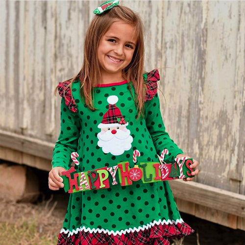 Fashion Dress Baby Girl clothes Christmas Long Sleeve Cartoon