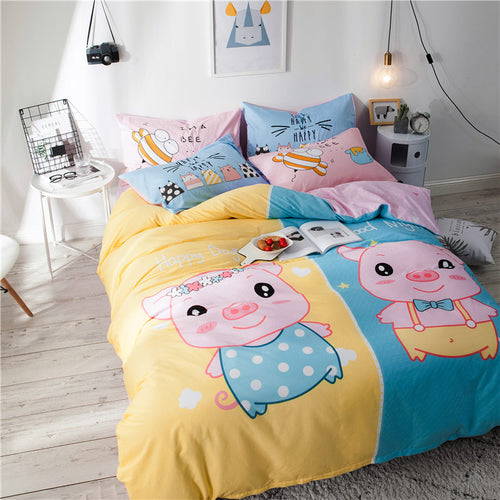 Cute Little Pig bedding set cotton fabric 3 or 4pcs duvet cover flatsheet pillowcase