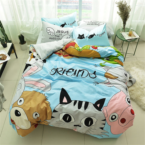 Dog cat pig Bedding Sets 100% Cotton comes with Sheet, 2 Pillowcase & Duvet Cover
