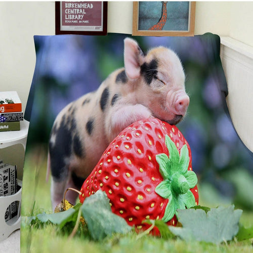 Blanket Comfort Warmth Soft Cozy Easy Care Machine Wash Funny Pig With Strawberries
