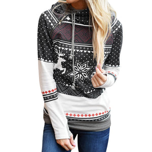 Hot Sale Christmas Women Zipper Hooded Sweatshirt Pullover Blouse