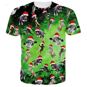 Summer men women tops printed Christmas Cat T-Shirts Galaxy Space Gift 3d