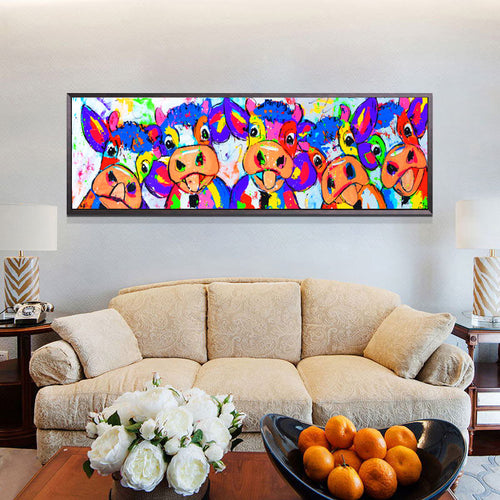 Colorful Five Cows Animals Graffiti Oil Painting And Canvas Prints For Wall Art Picture