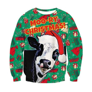 Moo-RY Christmas Cute Cow Elk 3D Sweatshirts Women Men Funny