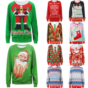Funny Print Ugly Christmas Sweater Crewneck Various Design