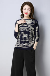 Sweater Autumn Winter Loose Knitted Sweater Color horse print Pullover Women O-Neck sk03