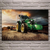 Machine tractor farm industrial farming construction harvest poster