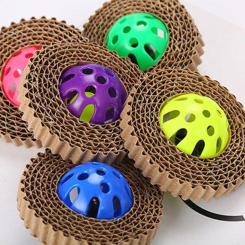 Scratch Board Cat Toy Corrugated Paper Cat Claw Board With Plastic Bell Ball