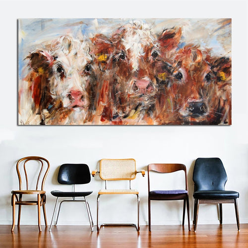 Art Colorful Cow Wall Art Painting Prints and Posters Modern Decorative Pictures Unframed