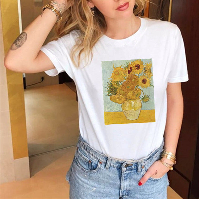 T-Shirt For Women Funny Cat Casual Short Sleeve